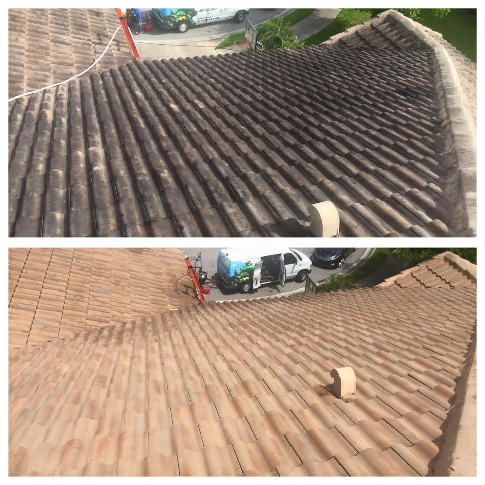 Softwash Tile Roof Cleaning